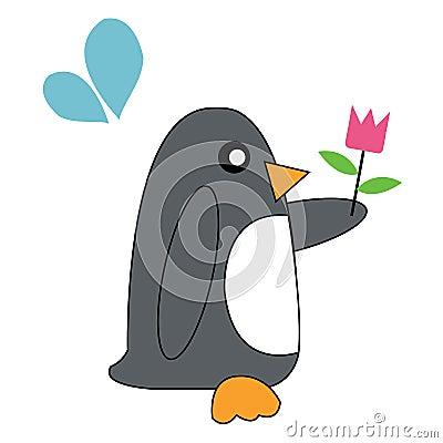 Penguin holding flowers. Vector Illustration