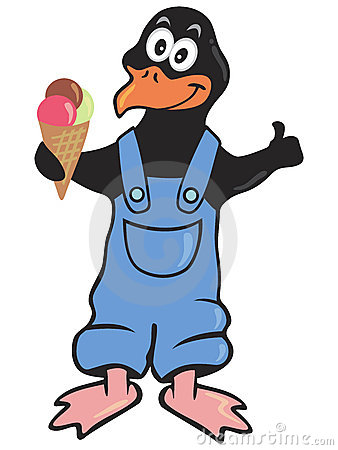 Penguin with ice cream