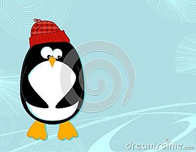 Penguin on ice landscape