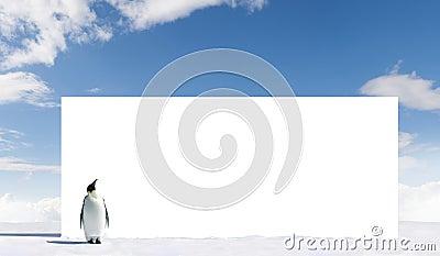 Penguin looking at billboard