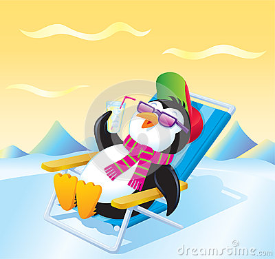 Penguin Relaxing With An Iced Drink Stock Illustration
