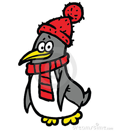 Penguin in scarf and hat illustration