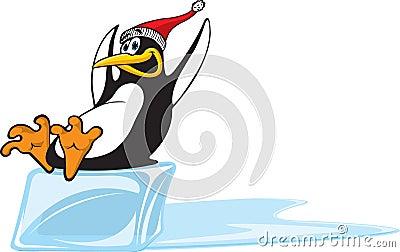 Penguin sliding on Ice