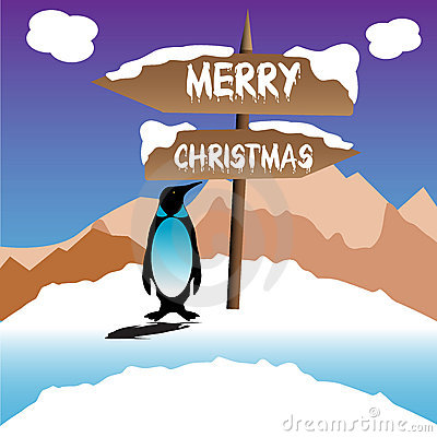 Penguin wishing Merry Christmas