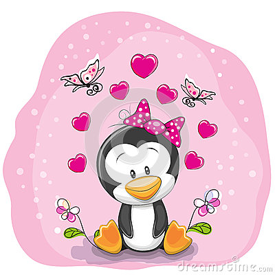 Free Penguin With Flowers Royalty Free Stock Images - 65021869