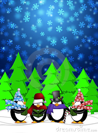 Penguins Carolers Singing in Winter Snowing Scene