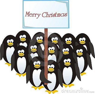 Penguins congratulate on Christmas