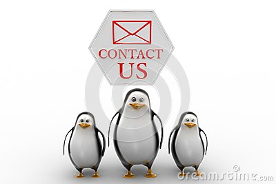 Penguins with contact us concept