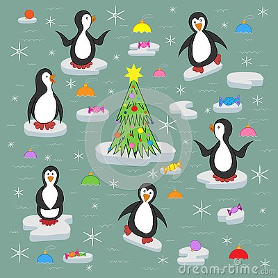 Penguins on the ice floes. Vector Illustration
