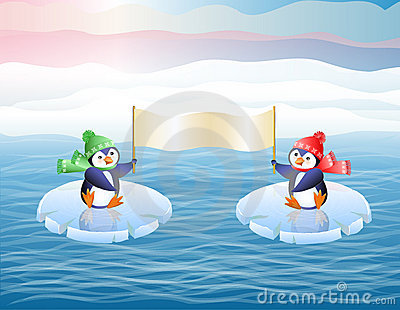 Penguins on ice floes. Show the poster.
