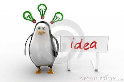 Penguins with idea concept