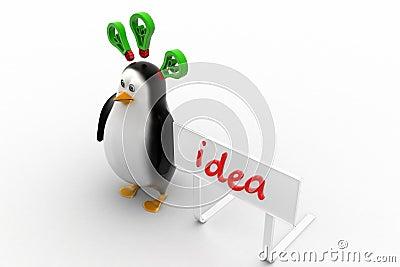 Penguins with idea concept