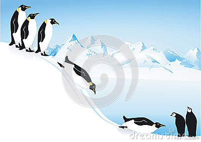 Penguins playing on ice slide