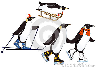 Penguins in winter sports