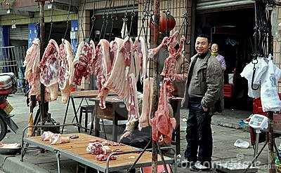 Pengzhou, China: Butcher and Meat Editorial Photography