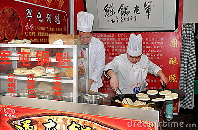 Pengzhou, China: Chefs Making Flat Bread Editorial Photo