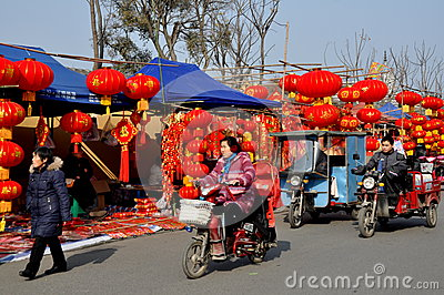 Pengzhou, China: Chinese New Year Decoration Vendors Editorial Photography