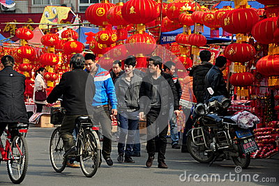 Pengzhou. China: Chinese New Year Decorations Editorial Photography