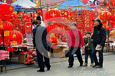 Pengzhou, China: Chinese New Year Decorations Editorial Photography