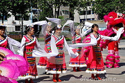 Pengzhou, China: Costumed Women Dancing Editorial Image
