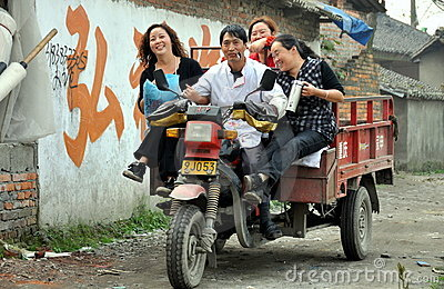 Pengzhou, China: Family on a Motorbike Truck Editorial Photo