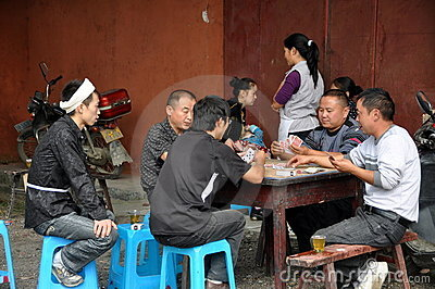 Pengzhou, China: Family Playing Cards Editorial Photography