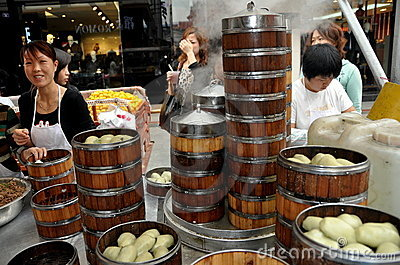 Pengzhou, China: Family Selling Steamed Dumplings Editorial Image