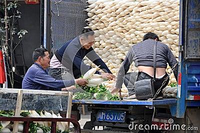 Pengzhou. China: Farmer s Co-op Workers Editorial Stock Photo