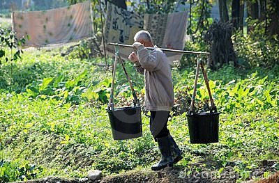 Pengzhou, China: Farmer with Water Buckets Editorial Stock Photo
