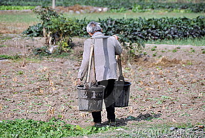 Pengzhou, China: Farmer with Water Buckets Editorial Image