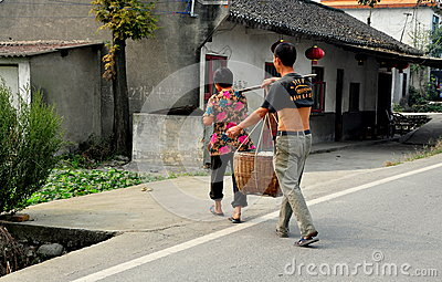 Pengzhou, China: Farmers Crossing Road Editorial Image