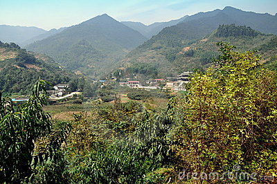 Pengzhou, China: Farmlands, Village and Temple