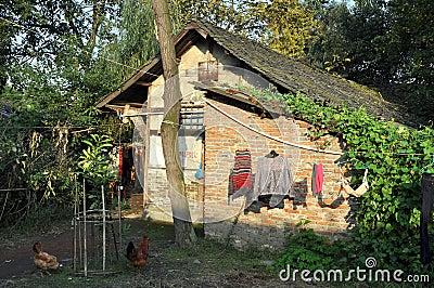 Pengzhou, China: Half-timbered Farmhouse Editorial Image