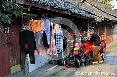 Pengzhou, China: Hua Lu Street Scene Editorial Photo
