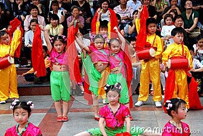 Pengzhou, China: Kids Dancing in New Square Editorial Stock Photo