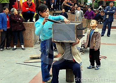 Pengzhou, China: Kids Performing Magic Tricks Editorial Image