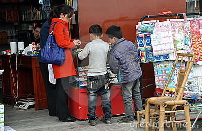 Pengzhou, China: Little Boys Shopping Editorial Stock Photo