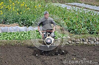 Pengzhou, China: Man Plowing Field