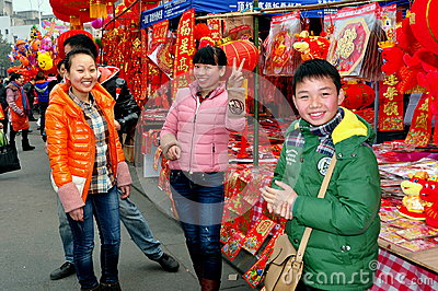 Pengzhou, China: New Year Decoration Vendors Editorial Image