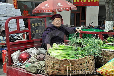 Pengzhou, China: Old Woman in Truck Editorial Photo