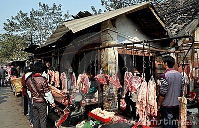Pengzhou, China: Outdoor Butcher Shop Editorial Photography