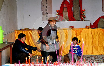 Pengzhou, China: People in Country Shrine Editorial Stock Photo