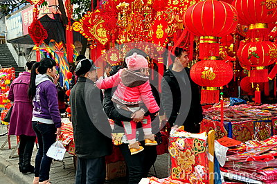 Pengzhou, China: People Shopping for Decorations Editorial Stock Image