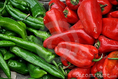 Pengzhou, China: Red and Green Peppers