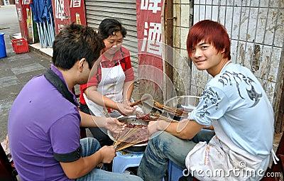 Pengzhou, China: Restaurant Workers Preparing Food Editorial Photography