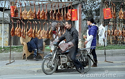 Pengzhou, China: Roadside Butcher Shop Editorial Photo