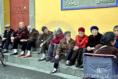 Pengzhou, China: Senior Chinese Citizens Editorial Image