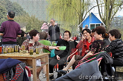 Pengzhou, China: Sipping Tea in Park Editorial Stock Photo