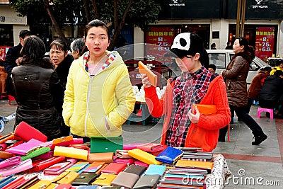 Pengzhou, China: Teenaged Girls Shopping Editorial Image