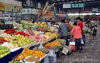 Pengzhou, China: Tian Fu Market Hall Editorial Photo